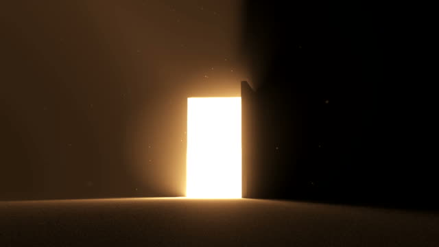 door open to bright light warm yellow new opportunity epiphany afterlife - new job bildbanksvideor och videomaterial från bakom kulisserna