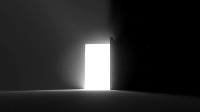 door open to bright white light new opportunity epiphany afterlife - new job bildbanksvideor och videomaterial från bakom kulisserna