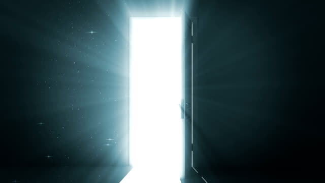Door opening to a heaven light. Alpha Channel included. 1080. video