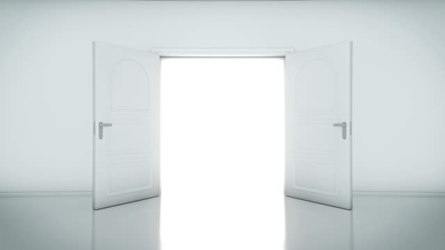 Door Opening with white background (alpha matte) video