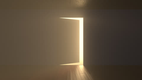 Door opens and bright light flooding a dark room Door opens and a bright light flooding a dark room. Can be used as a concept of new innovations, future and hope, new beginning or a win of a fight for freedom door stock videos & royalty-free footage