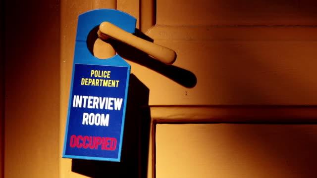 Door sign, Police, Interview room video