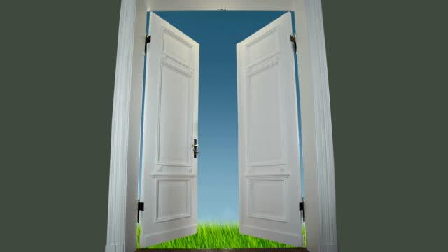 Door to spring meadow video