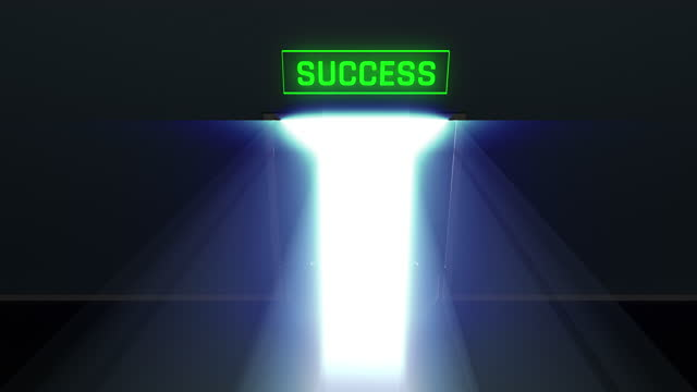 Door to success opening in the dark, bright light shining through, triumph