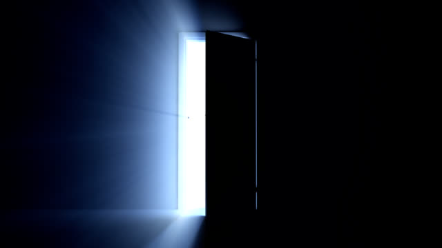 Doorway to Opportunity A door opening to reveal a heavenly light shining through. chance stock videos & royalty-free footage
