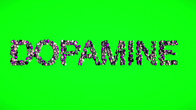 Dopamine hormon  molecules text on green screen video