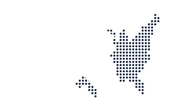 vídeos de stock, filmes e b-roll de mapa de ponto dos eua. conceito de rede, tecnologia e conexões. motion graphic - país área geográfica