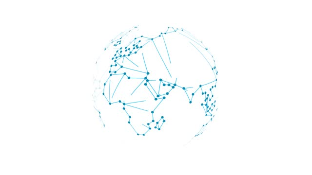 dots makes global world map, global wireframe polygonal lines