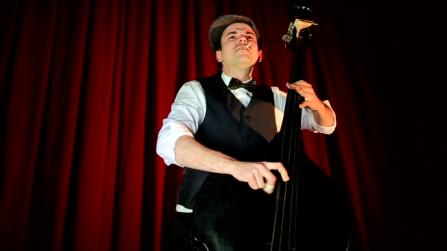 Double Bass Player On Stage Theater Elegant Double Bass Player Having Delightful Performance On Stage Theater charming stock videos & royalty-free footage