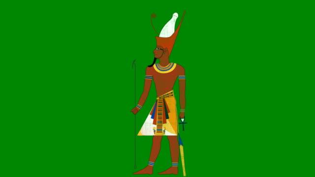 グリーン スクリーン背景のすべてのエジプト エジプトのファラオをダブル クラウンします。 - 過ぎ越しの祭り点の映像素材/bロール