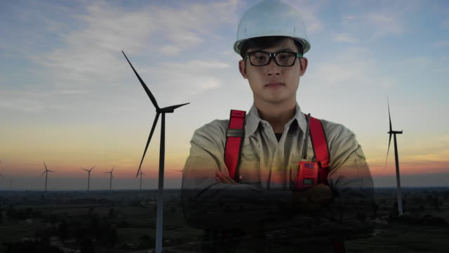 Double exposure engineer with wind energy turbines video