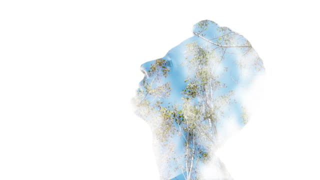 Double exposure: Man's face and trees video