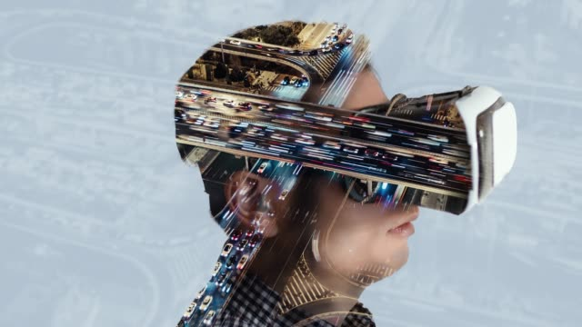 T/L Double Exposure of Man Wearing Virtual Reality Headset