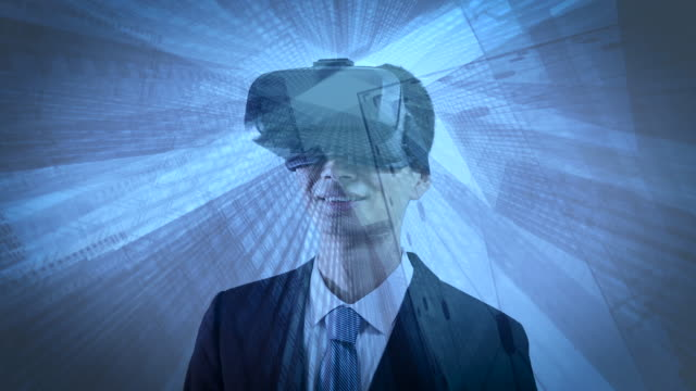 Double exposure of man wearing virtual reality headset video