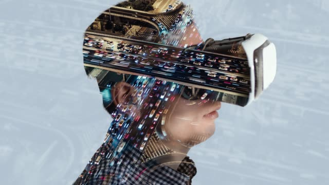 T/L TD Double Exposure of Man Wearing Virtual Reality Headset with Traffic in Background Double Exposure of Man Wearing Virtual Reality Headset with Traffic in Background complexity stock videos & royalty-free footage