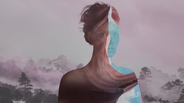이중 노출 세로 - abstract art 스톡 비디오 및 b-롤 화면