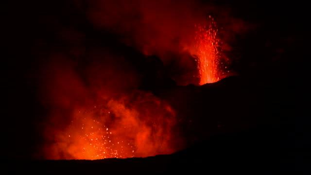 double volcano eruption video