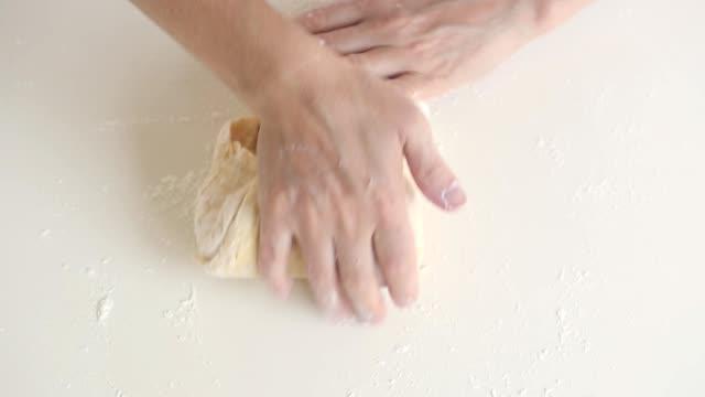 Dough Baker kneading the dough. dough stock videos & royalty-free footage