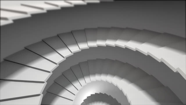 down through a concrete stairwell and approach in the light video