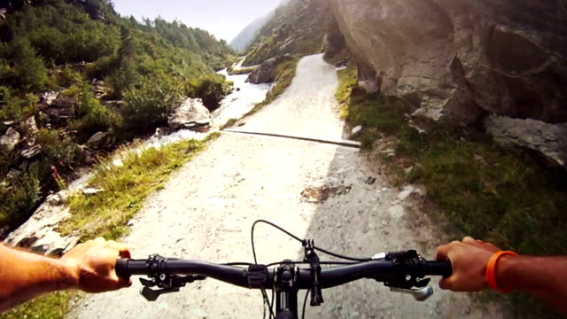 Downhill mountainbike on the Alps video