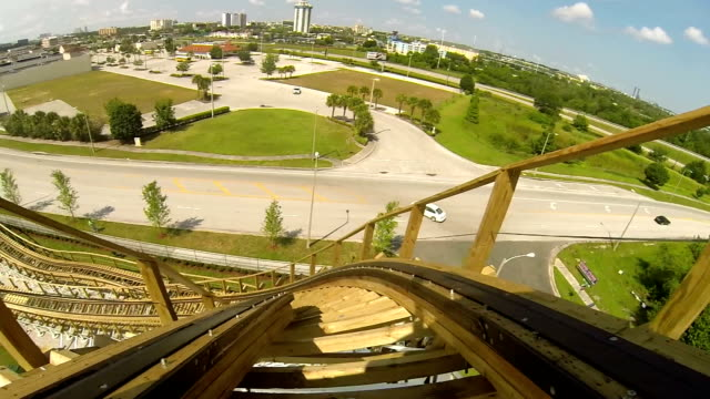 downing wooden roller coaster - roller coaster stock videos & royalty-free footage