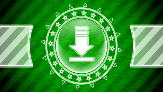 Download icon in circle shape and green striped background. Illustration. Looping footage. website design stock videos & royalty-free footage