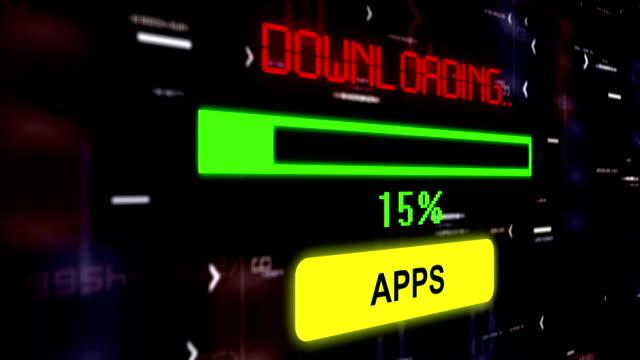 Downloading apps progress bar concept video