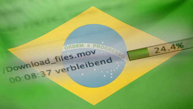 Downloading files on a computer, Brazil flag