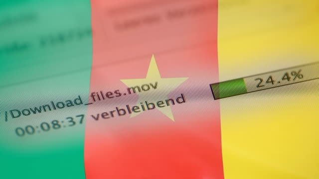 Downloading files on a computer, Cameroon flag
