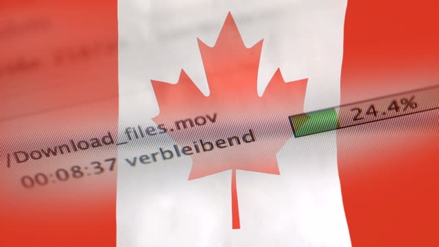 Downloading files on a computer, Canada flag