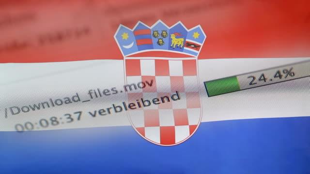 downloading files on a computer, croatia flag - kradzież tożsamości filmów i materiałów b-roll