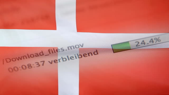 Downloading files on a computer, Denmark flag