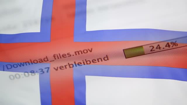 Downloading files on a computer, Faroe Islands flag