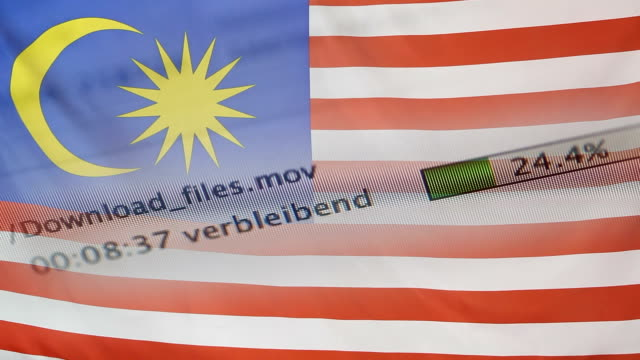 Downloading files on a computer, Malaysia flag