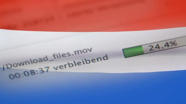 Downloading files on a computer, Netherlands flag
