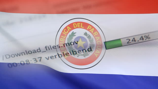 Downloading files on a computer, Paraguay flag