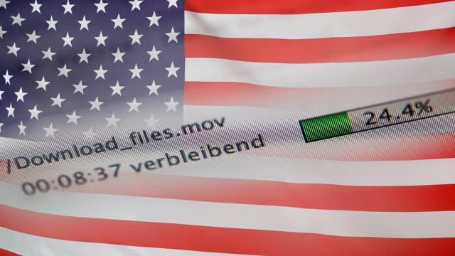 Downloading files on a computer, USA flag