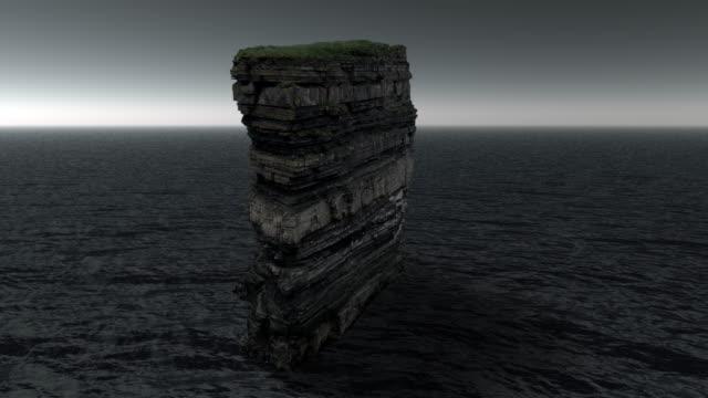 downpatrick head sea stack in county mayo, irland - erodiert stock-videos und b-roll-filmmaterial