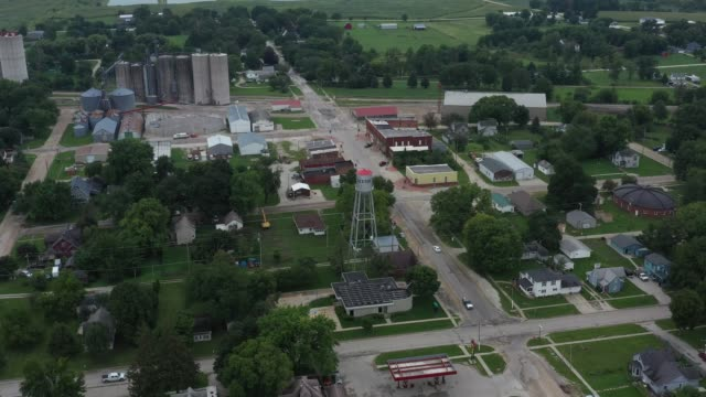 Downtown and residential areas, small town, Dexter, Iowa, USA