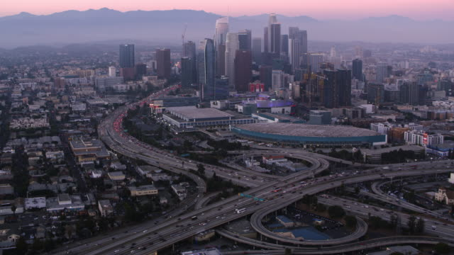 AERIAL  Downtown LA at dusk