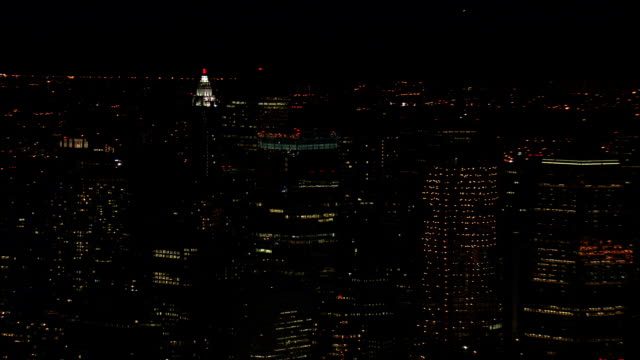 Downtown At Night  - Aerial View - New York,  New York County,  United States video