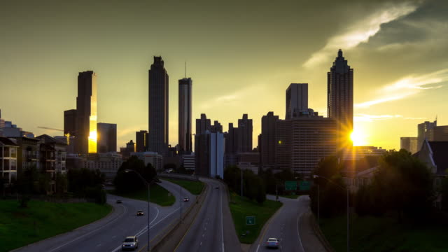 Downtown Atlanta Skyline Sunset Time Lapse video