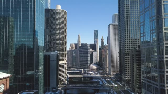 downtown chicago and riverwalk 02 - american architecture stock videos & royalty-free footage