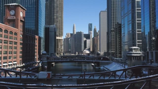 Downtown Chicago and Riverwalk 04 Aerial view of Downtown Chicago, The Magnificent Mile, Chicago River, and The Bean. chicago stock videos & royalty-free footage