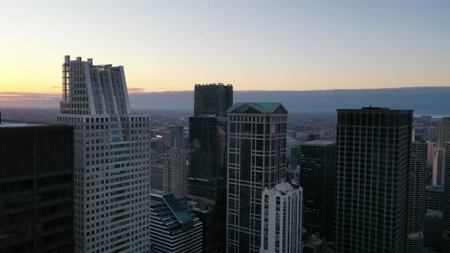 Downtown Chicago at Dusk - Aerial View over the City