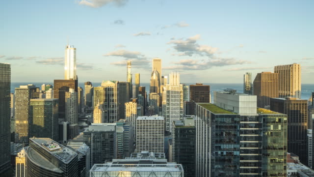 Downtown Chicago Day to Night Time Lapse Downtown Chicago Seen From High Rise - Timelapse chicago architecture stock videos & royalty-free footage