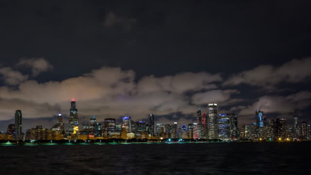 Downtown Chicago Skyline With Clouds at Night Timelapse