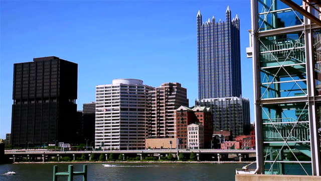 Downtown cityscape from riverside. video