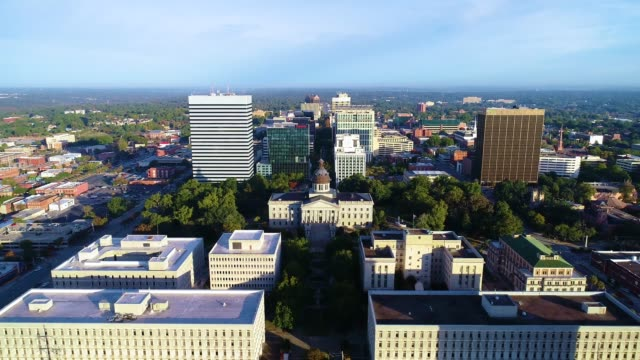 Downtown Columbia South Carolina State House Aerial Downtown Columbia South Carolina SC State House Drone Aerial View south carolina stock videos & royalty-free footage