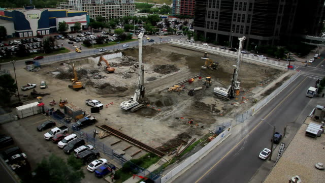 downtown construction wide video